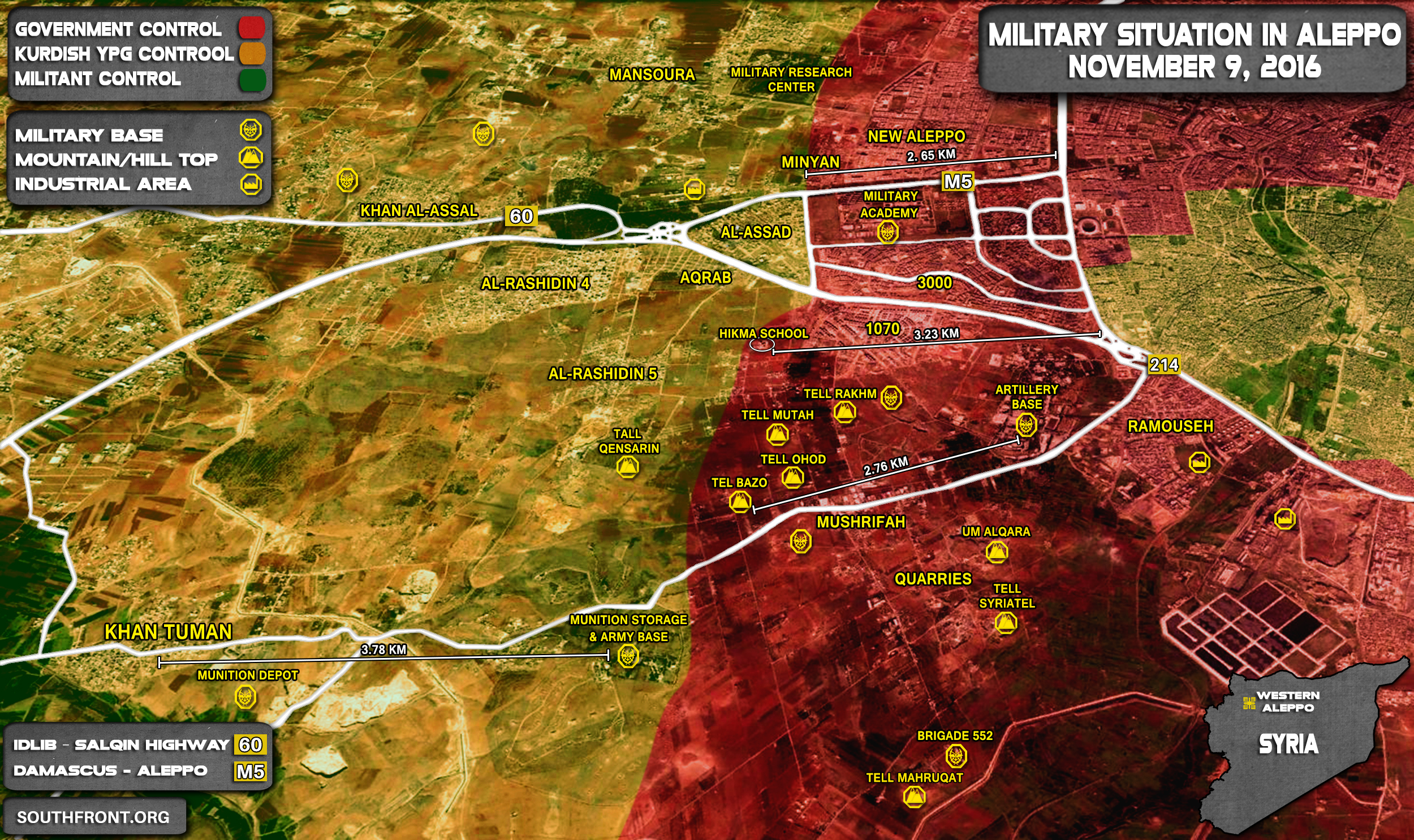 Overview of Military Situation in Aleppo City on November 9, 2016