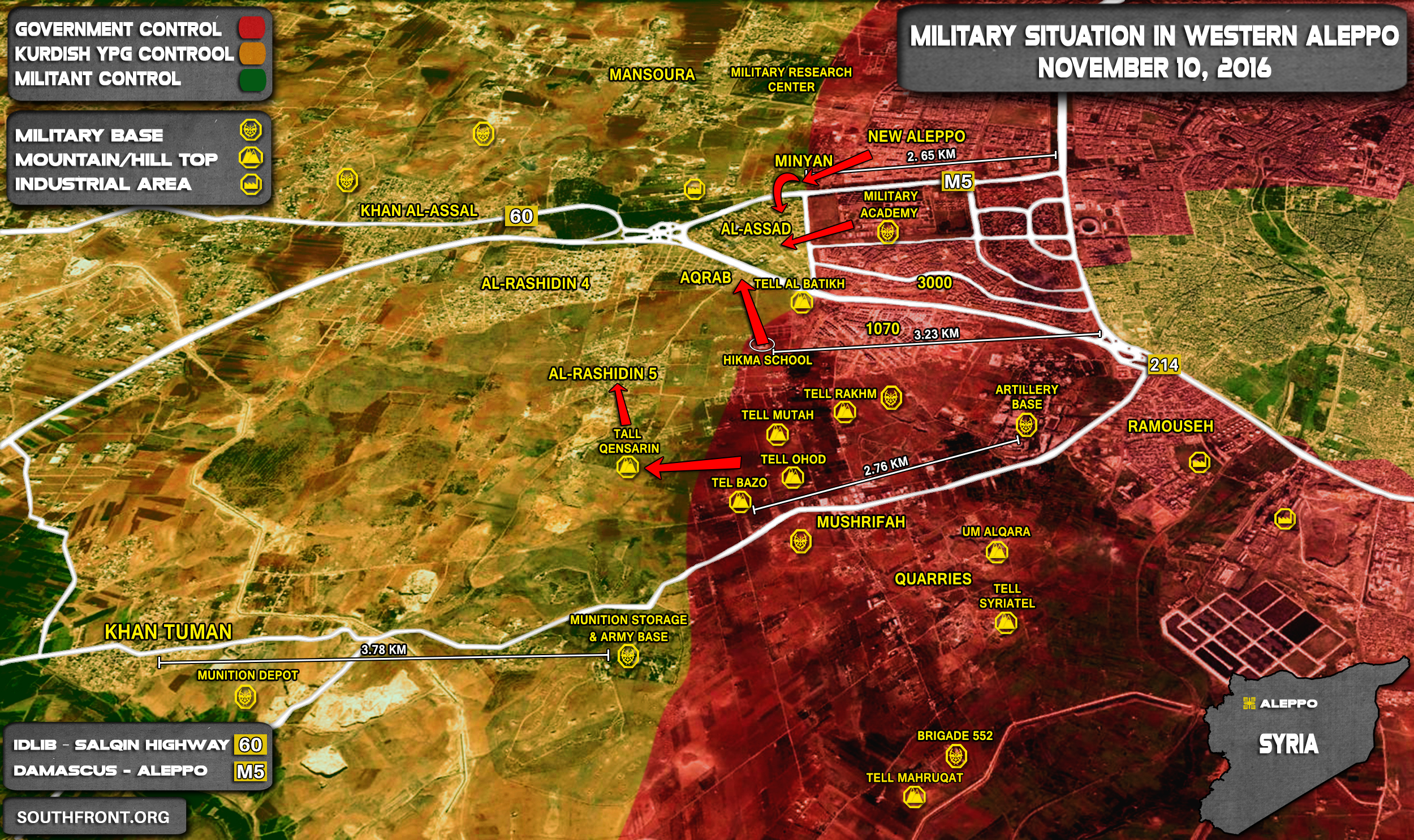 Overview of Miltary Situation in Aleppo City on November 10, 2016