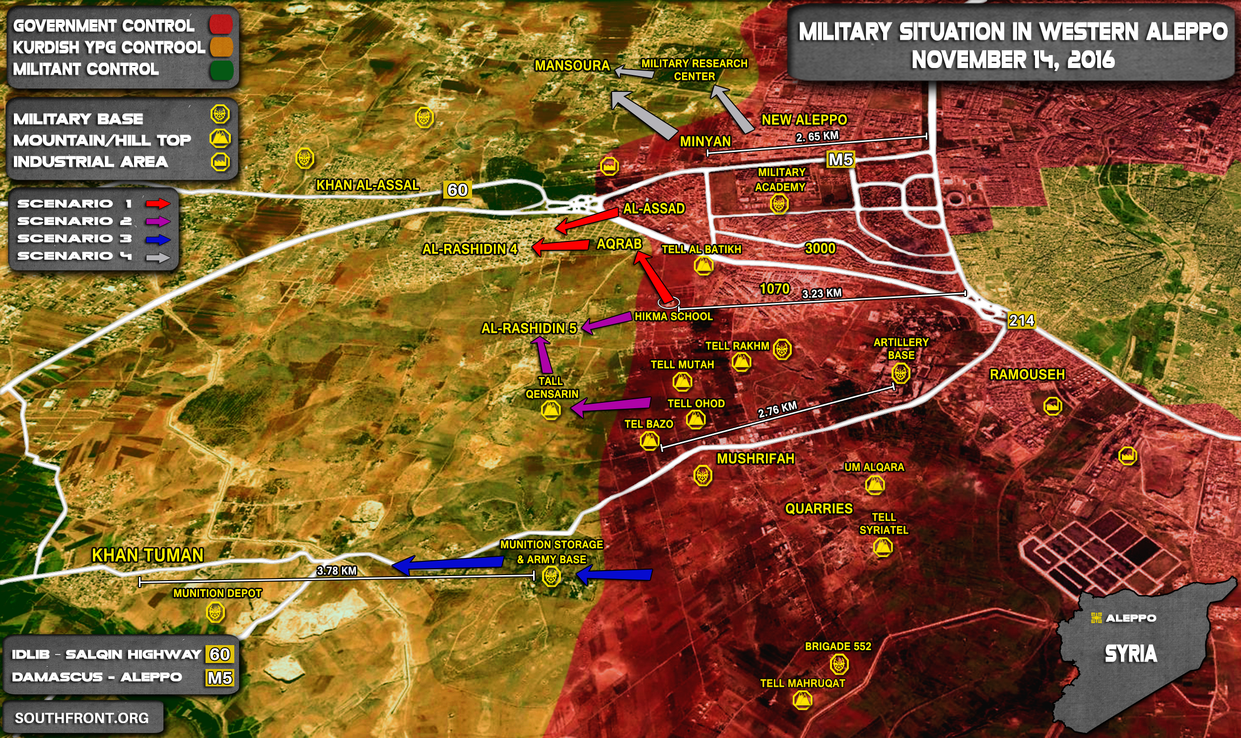 Overview of Military Situation in Aleppo City on November 14, 2016