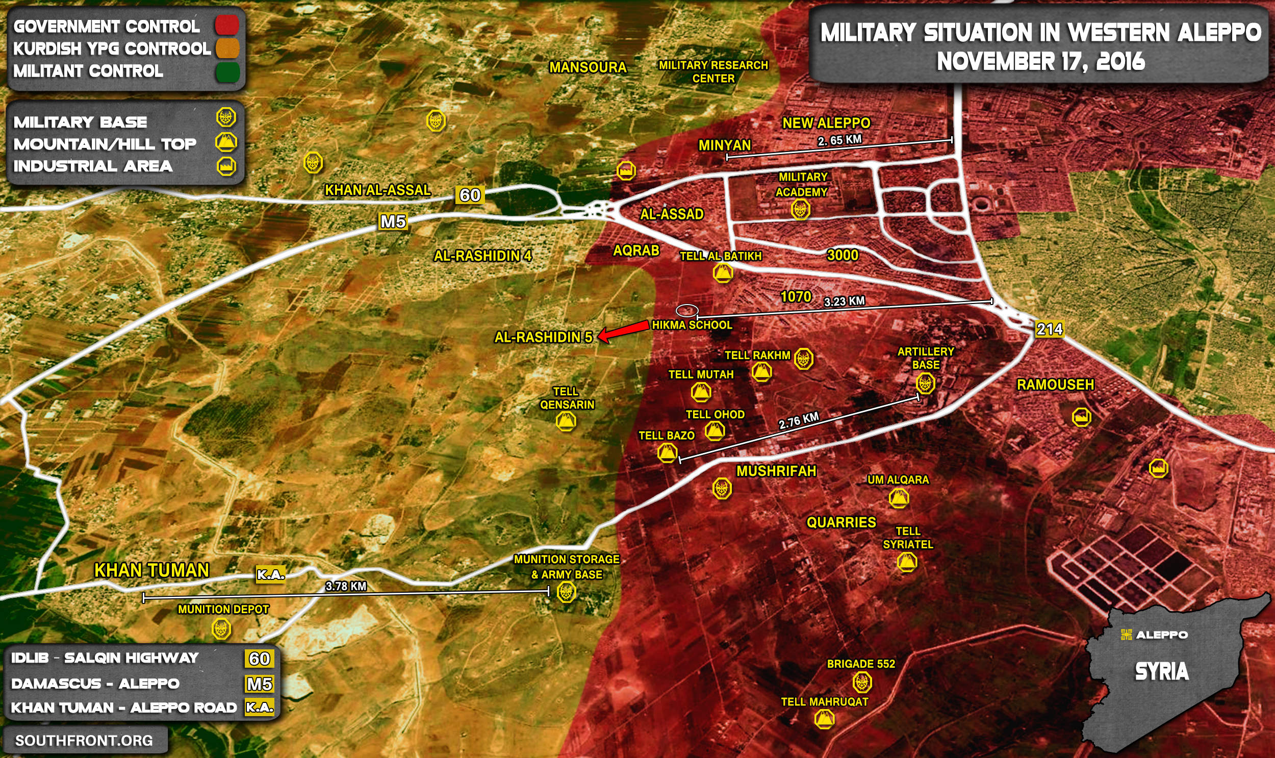 Overview of Military Situation in Aleppo City on November 17, 2016