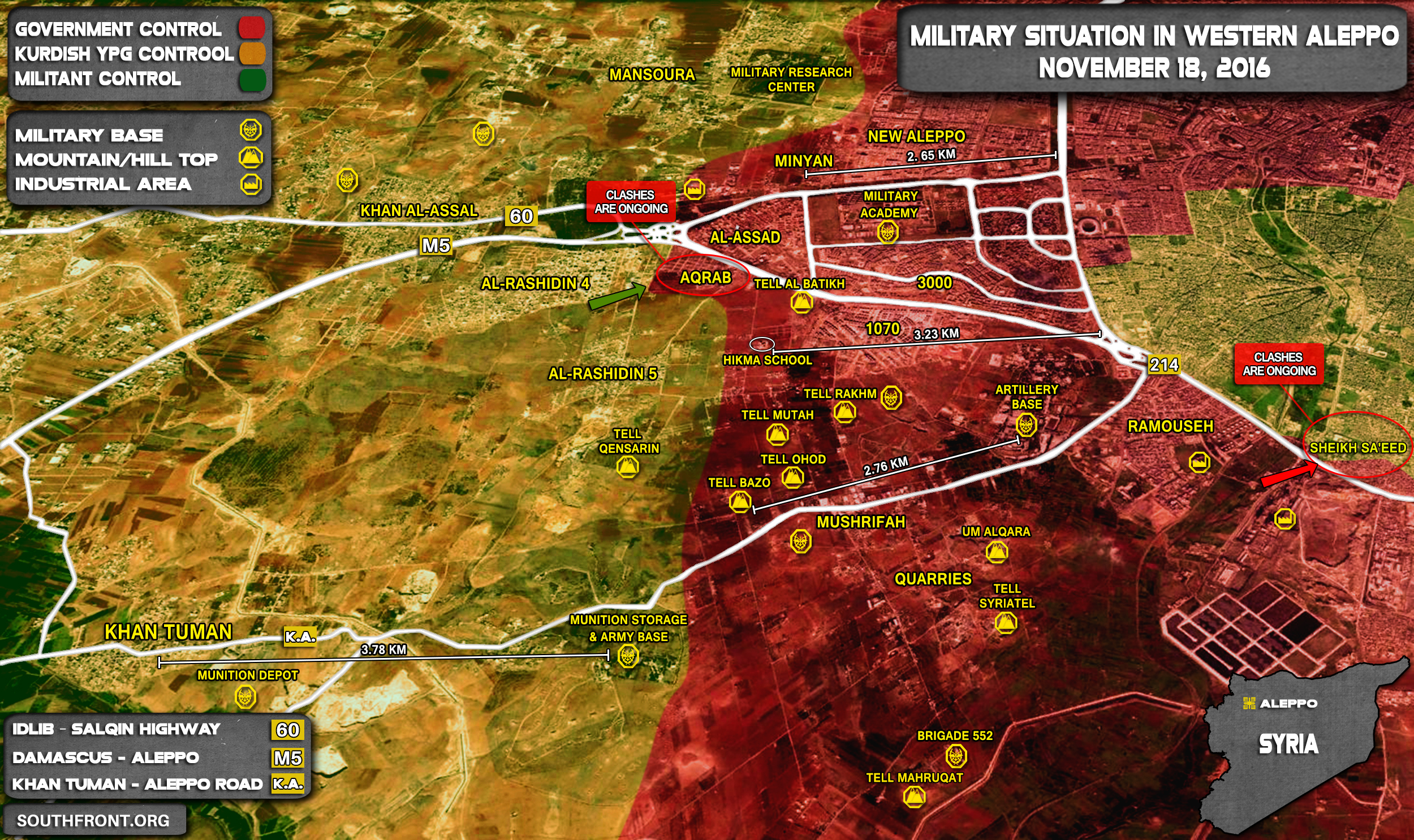 Overview of Military Situation in Aleppo City on Novmber 18, 2016