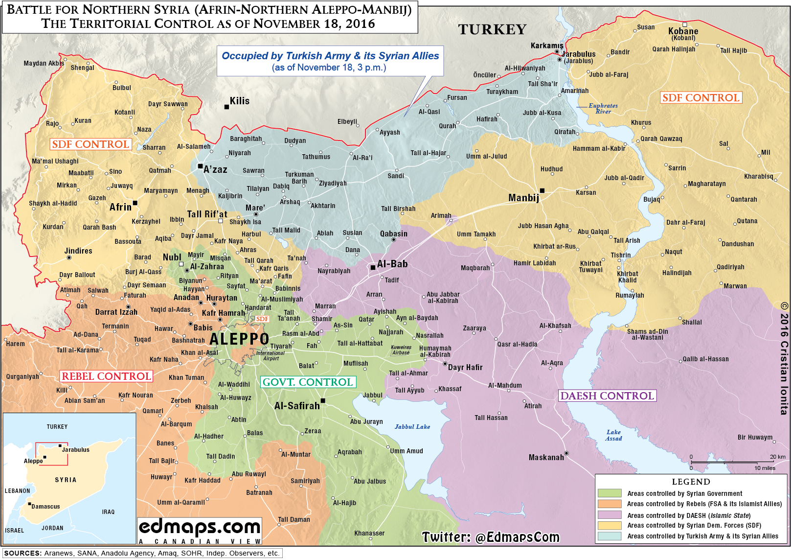 Map Update: Military Situation in Northern Syria on November 18, 2016