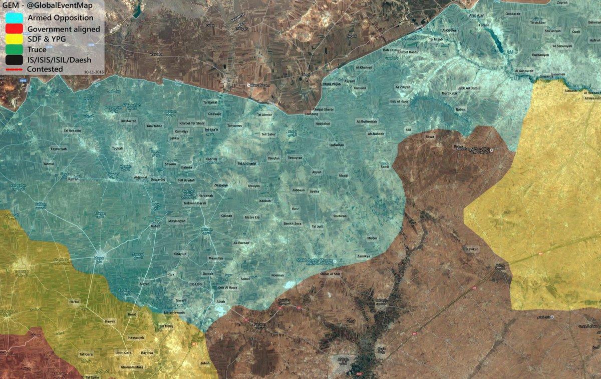 Tukrish-backed Militants Advancing on Al-Bab (Syria War Map)