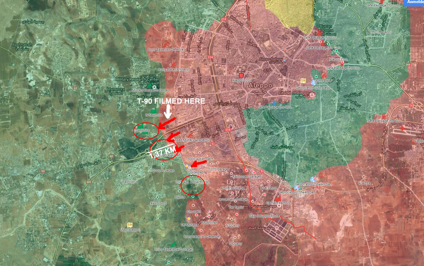 Overview of Military Situation in Aleppo City on November 1, 2016