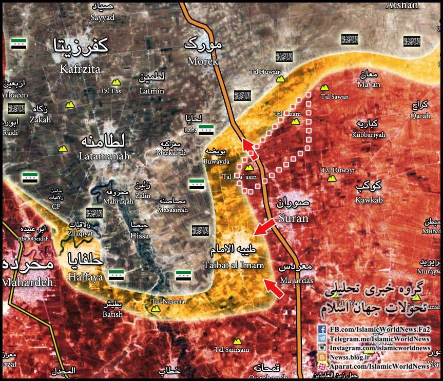 Syrian Army Flaking Taybat al-Imam Town in Northern Hama
