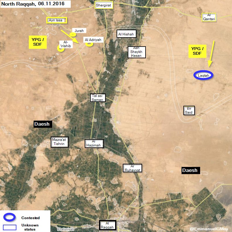 Syria War Map: First Gains of YPG-led Advance on ISIS-controlled City of Raqqa