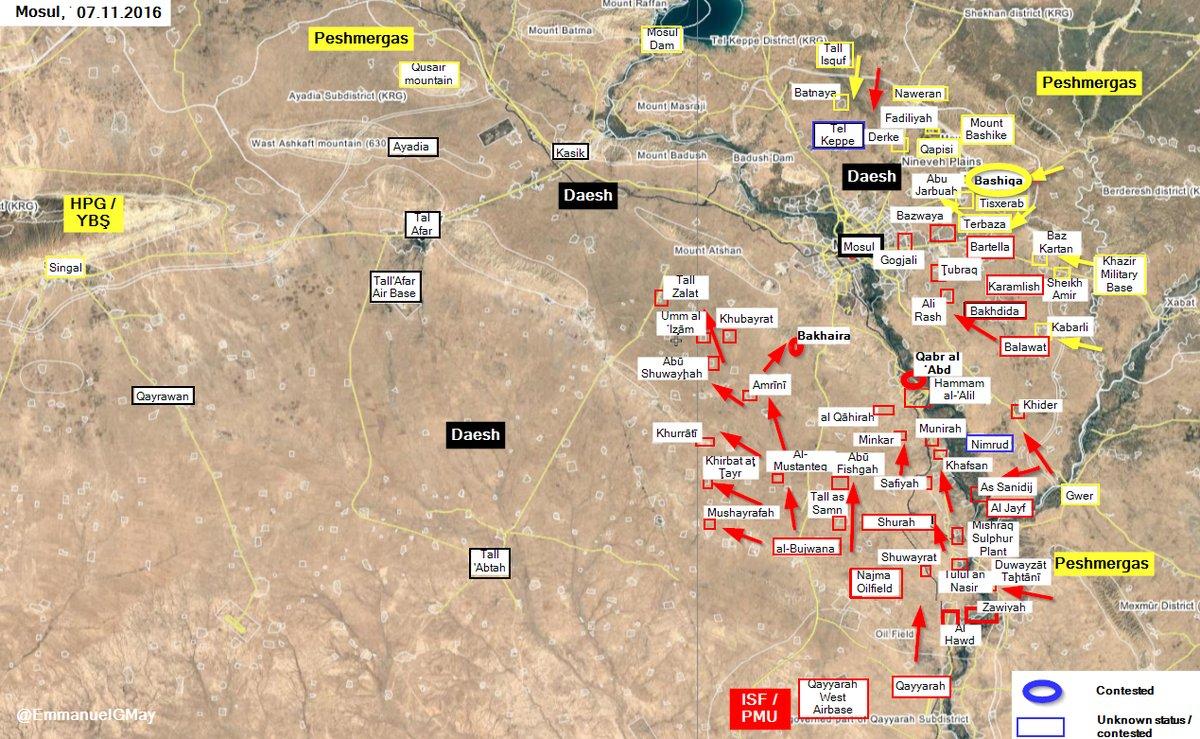 Kurdish Peshmerga Secure Key Town of Bashiqa in Mosul Countryside