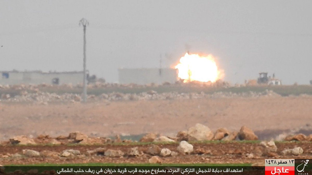 Photos: ISIS Destroying Turkish Battle Tank near al-Bab with Guided Missile
