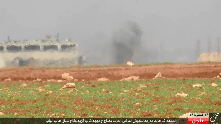ISIS Destroys Another Turkish Battle Tank near al-Bab