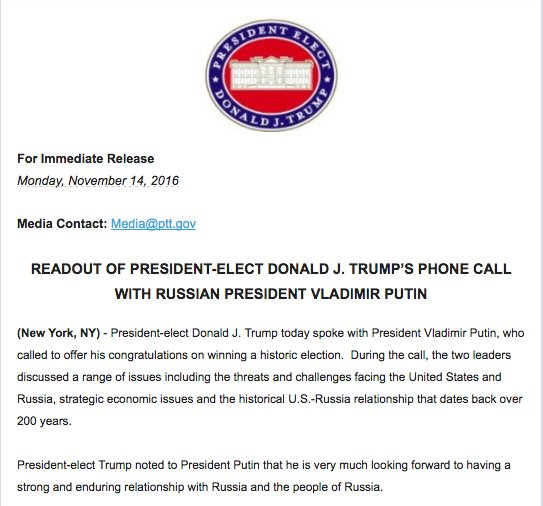 Putin & Trump Hold First Phone Call to Discuss Syria, US-Russian Relations