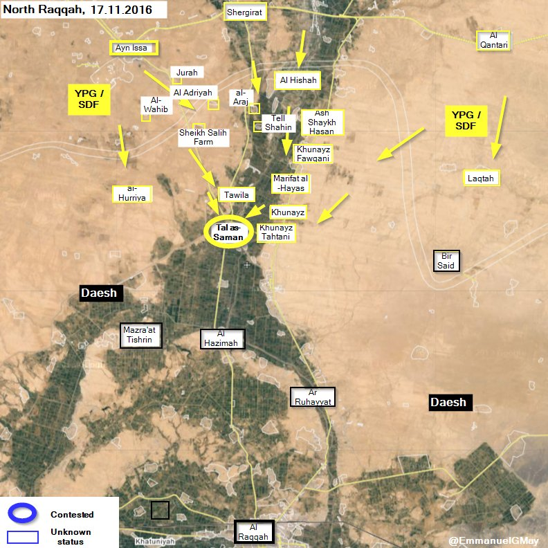 Kurdish Forces Take Tal as-Saman from ISIS North of Raqqa