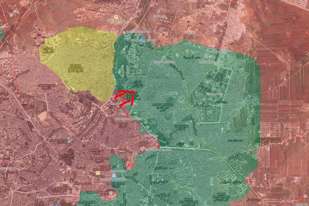 Syrian Army Advancing in Bustan al-Basha Neighborhood of Aleppo City