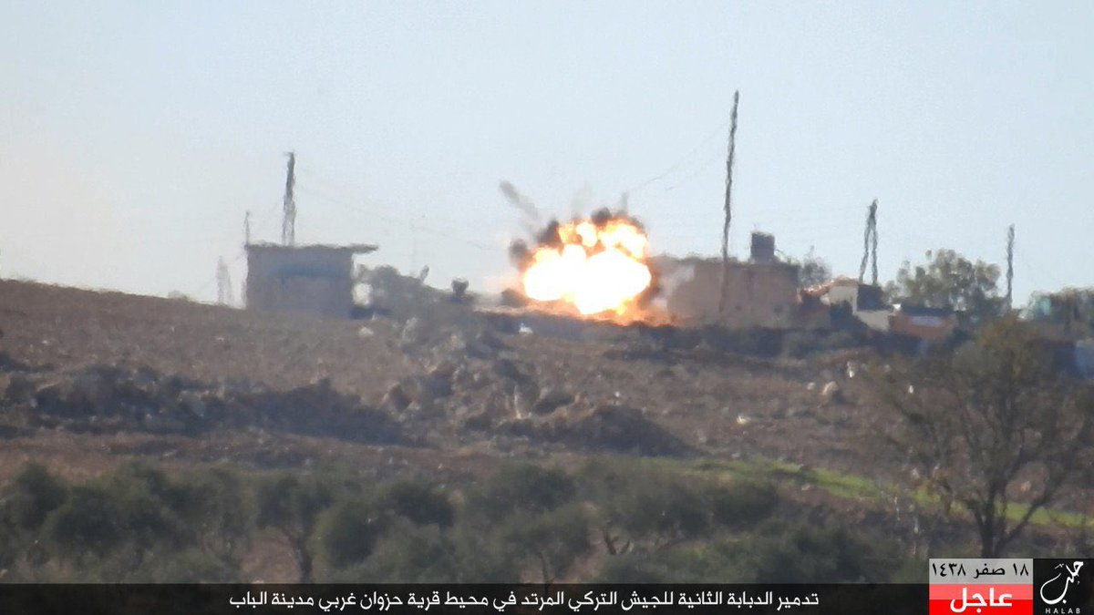 Fig. 6 The Turkish Armed Forces' battlle tank is hit by an ATGM missile near Al-Bab