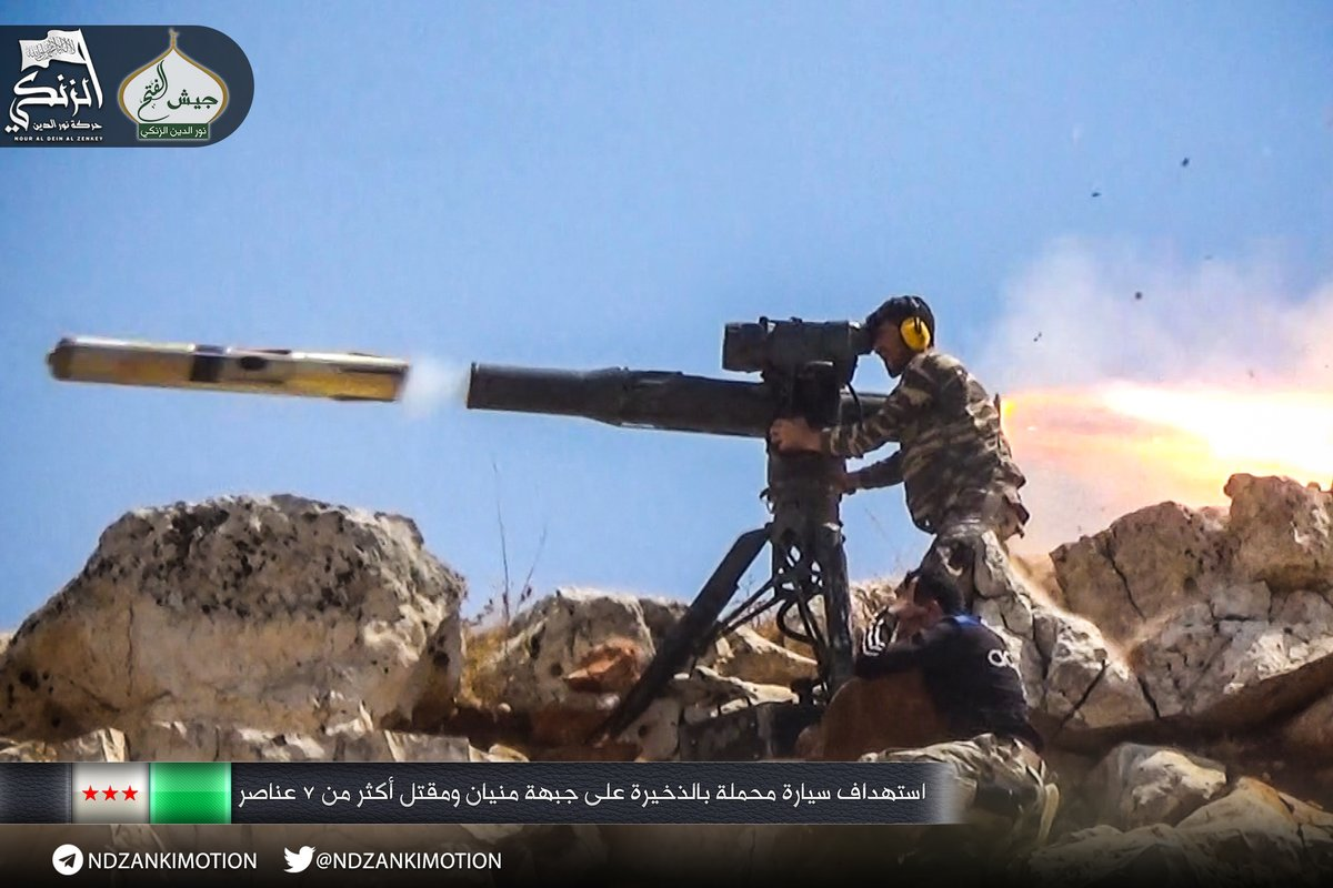 Nur al-Din al-Zanki - part of Jaish al-Fatah alliance (led by Jabhat Fatah al-Sham - rebranded Al-Qaeda) in Aleppo - fires US-made TOW. Photo appeared on November 21, 2016