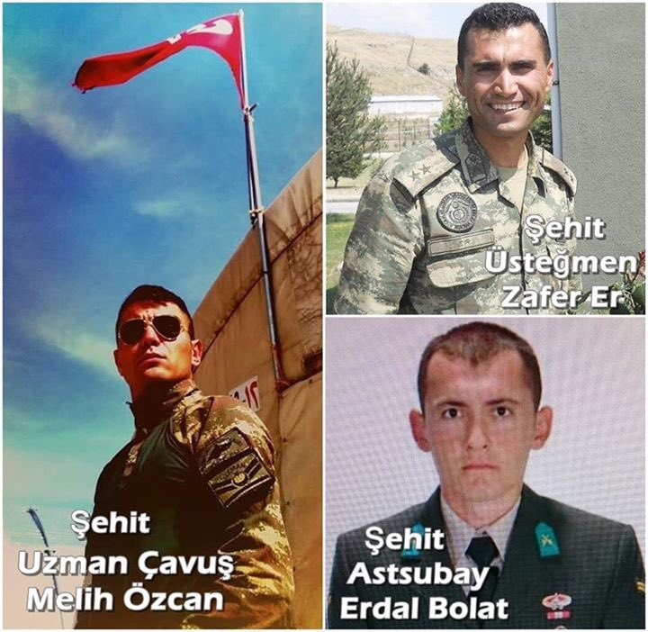 Photos and names of Turksih Soldiers Killed in Syrian Air Raid Appeared in Media