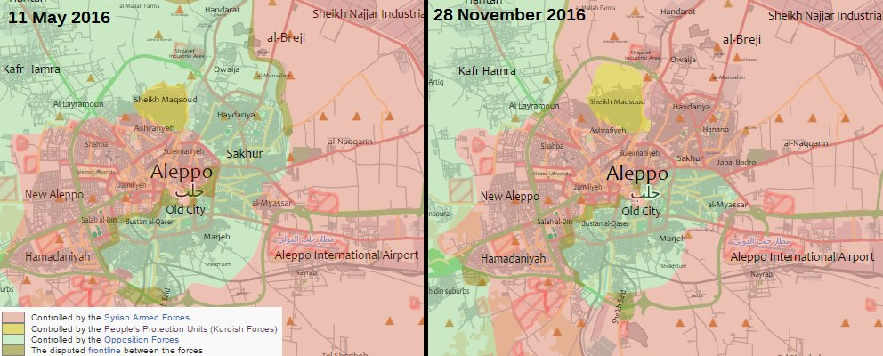Map Comparison: Military Situation in Aleppo City on May 11 vs Aleppo City on November 28