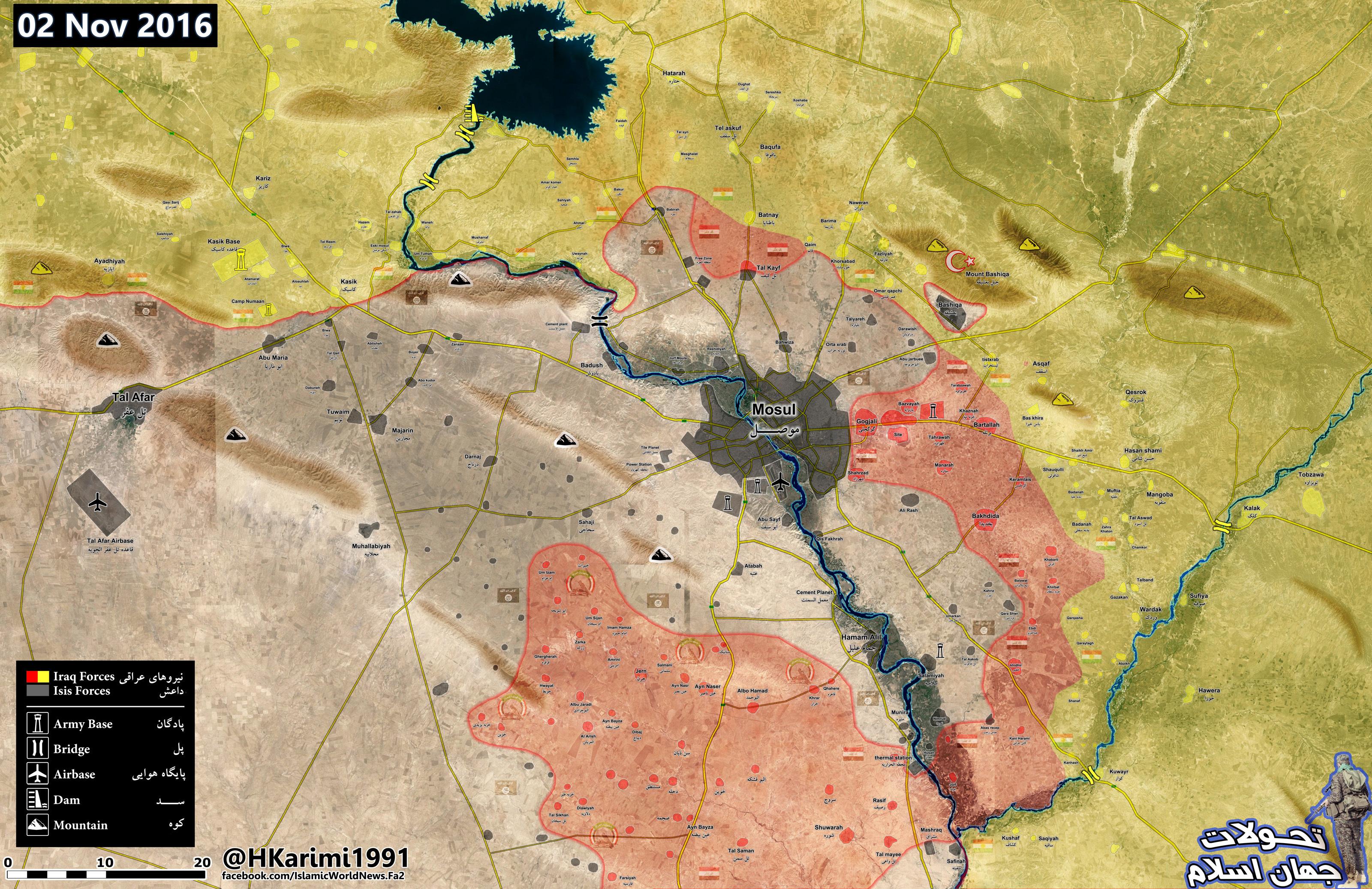 Iraqi Map Update: Iraqi Military and Popular Mobilization Units Shape Battleground in Mosul Countryside