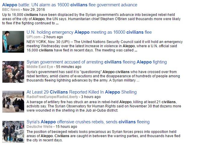 Media Hypocrisy: In Aleppo Civilians Flee from 'Regime Offensive'