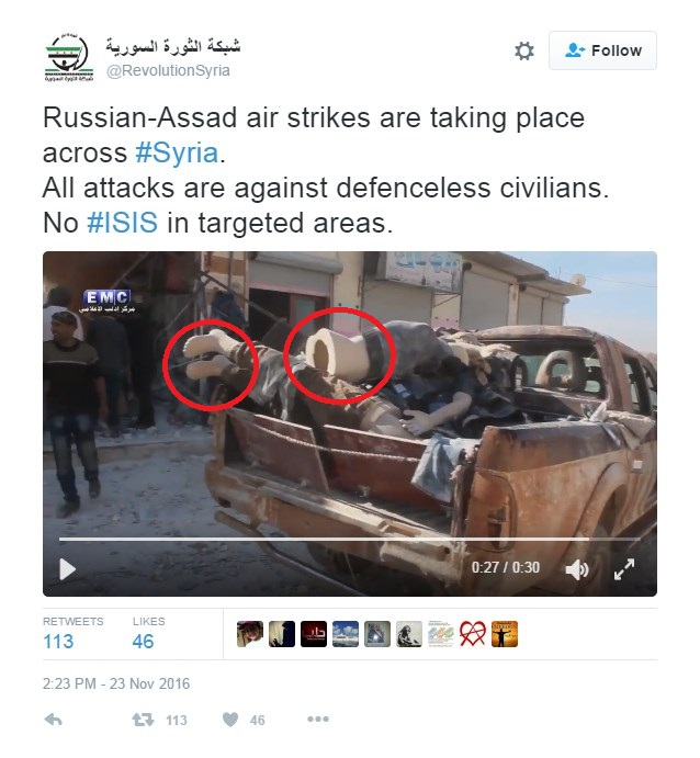 "Fresh Militant Propaganda Claims Civilian Casualties from ""Russia-Assad Airstrikes"", Shows Mannequins in ""Video Proof"""