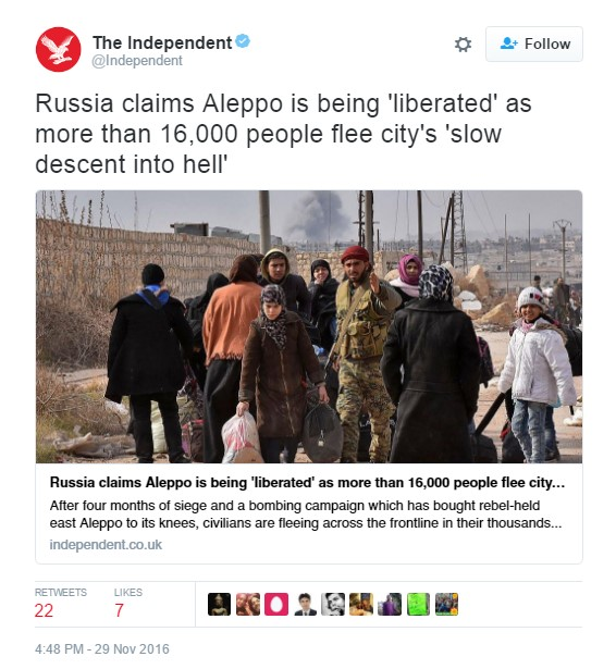 Mainstream Media Wants You to Believe that 16,000 Aleppo Citizens Escape from 'Assad Forces'
