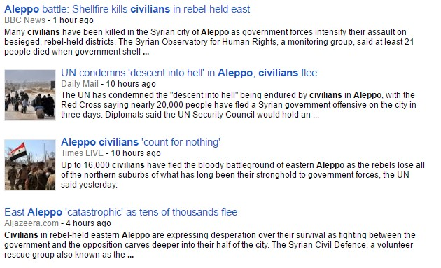 Media Hypocrisy: In Aleppo Civilians Flee from 'Regime Offensive'
