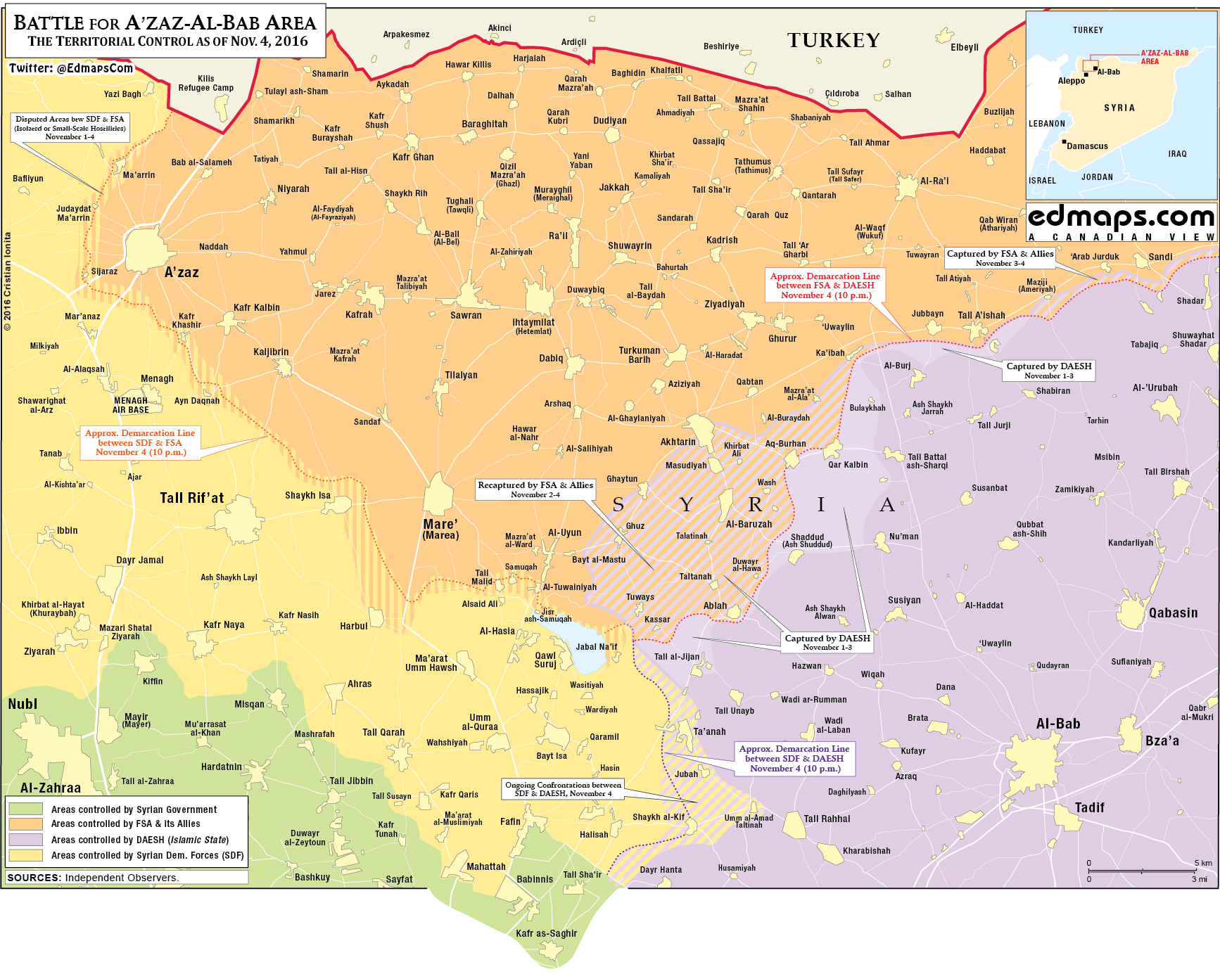 Syria War Map: Military Situation in Northeast of Aleppo City on November 4