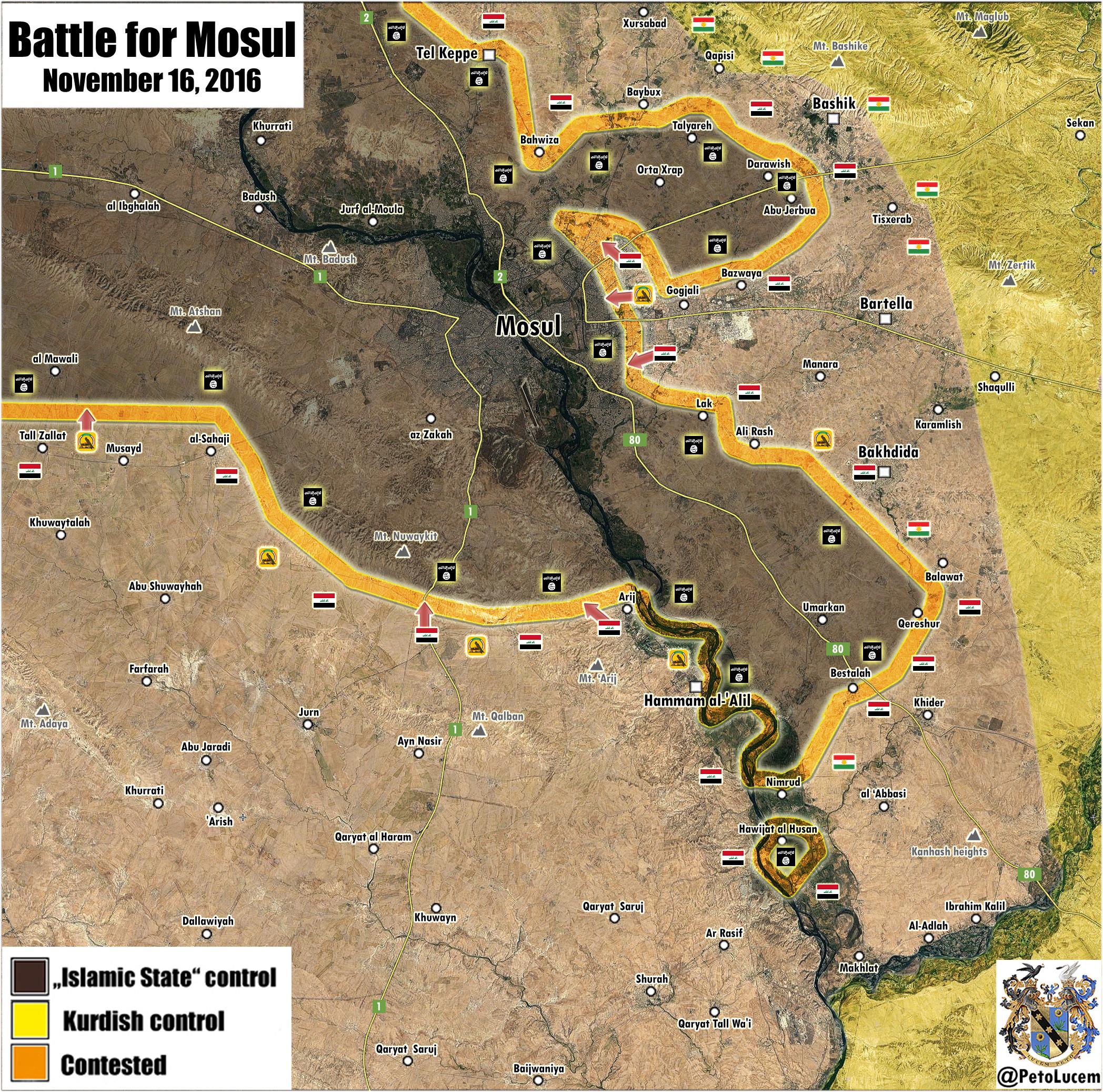 Iraqi War Map Update: Battle for Mosul on November 16, 2016