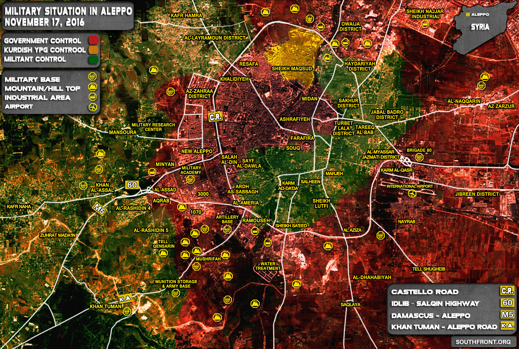 Syria War Map: General Look at Military Situation in Aleppo City on November 17, 2016