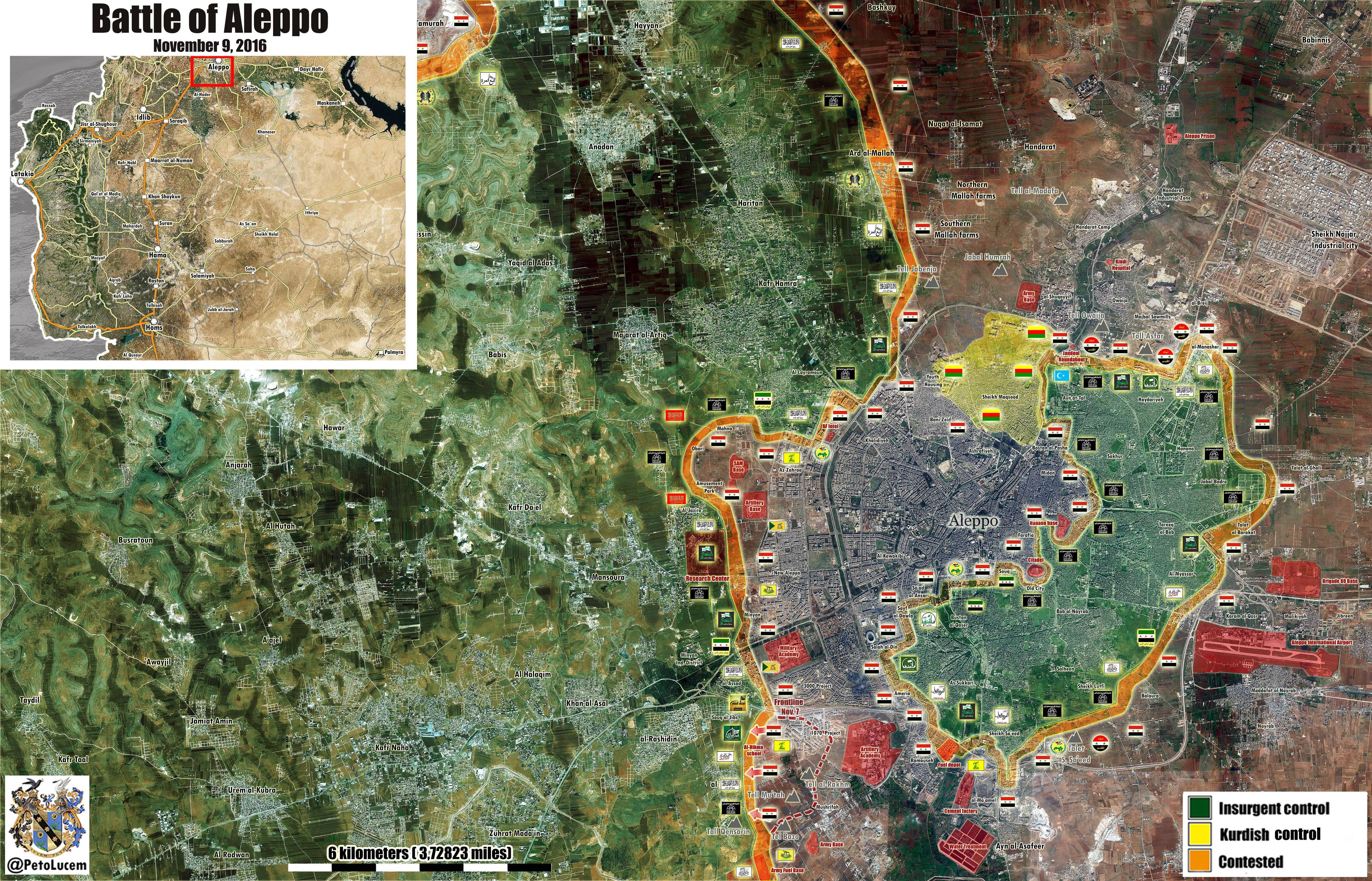 Syrian War Map Update: General Look at Military Situation in Aleppo City on November 9, 2016