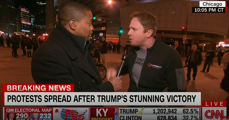 CNN Interviews 'Outraged' CNN Camerman during Trump Protests