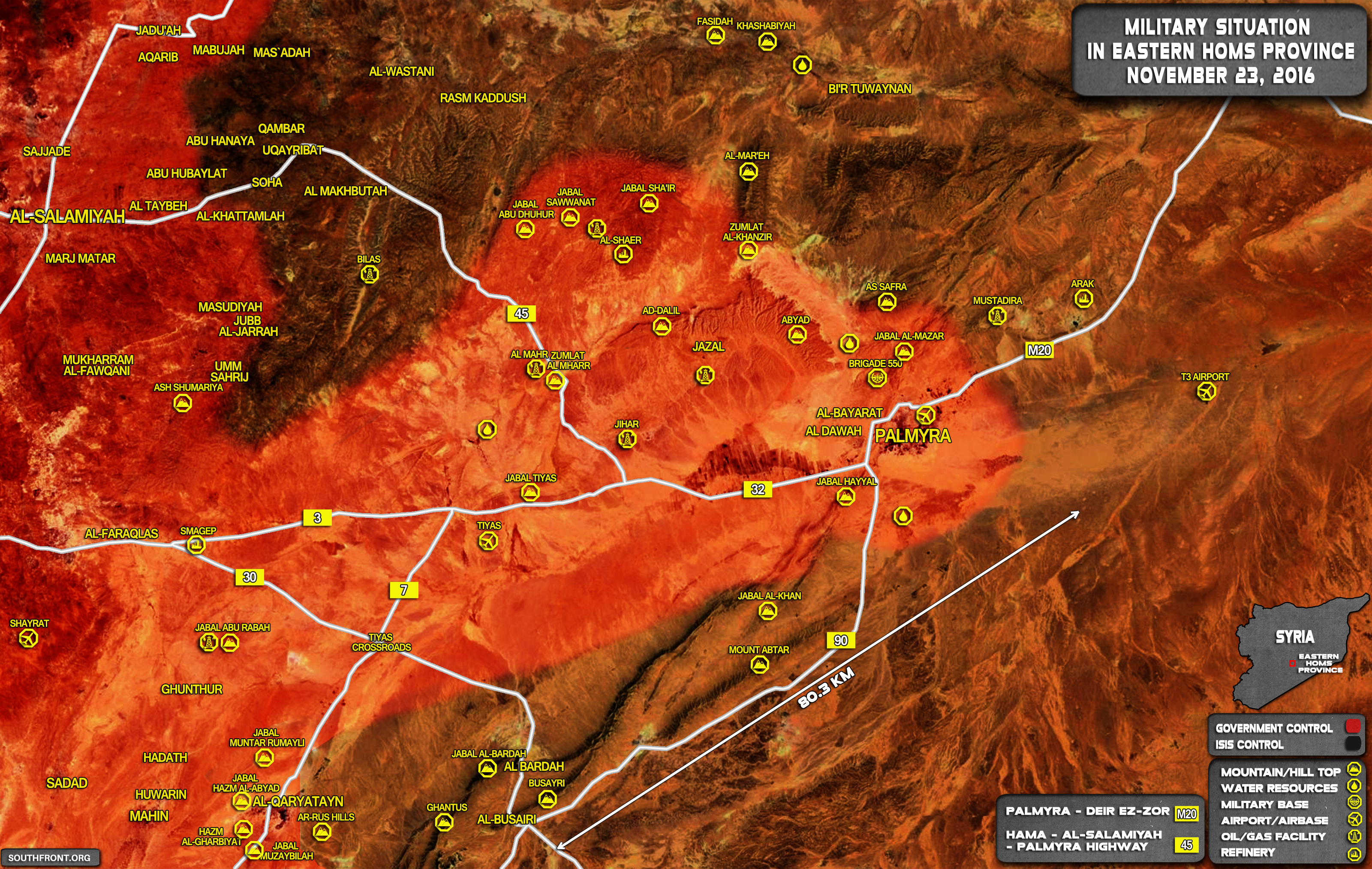 Syria Map Update: Military Situation in Eastern Homs on November 23, 2016