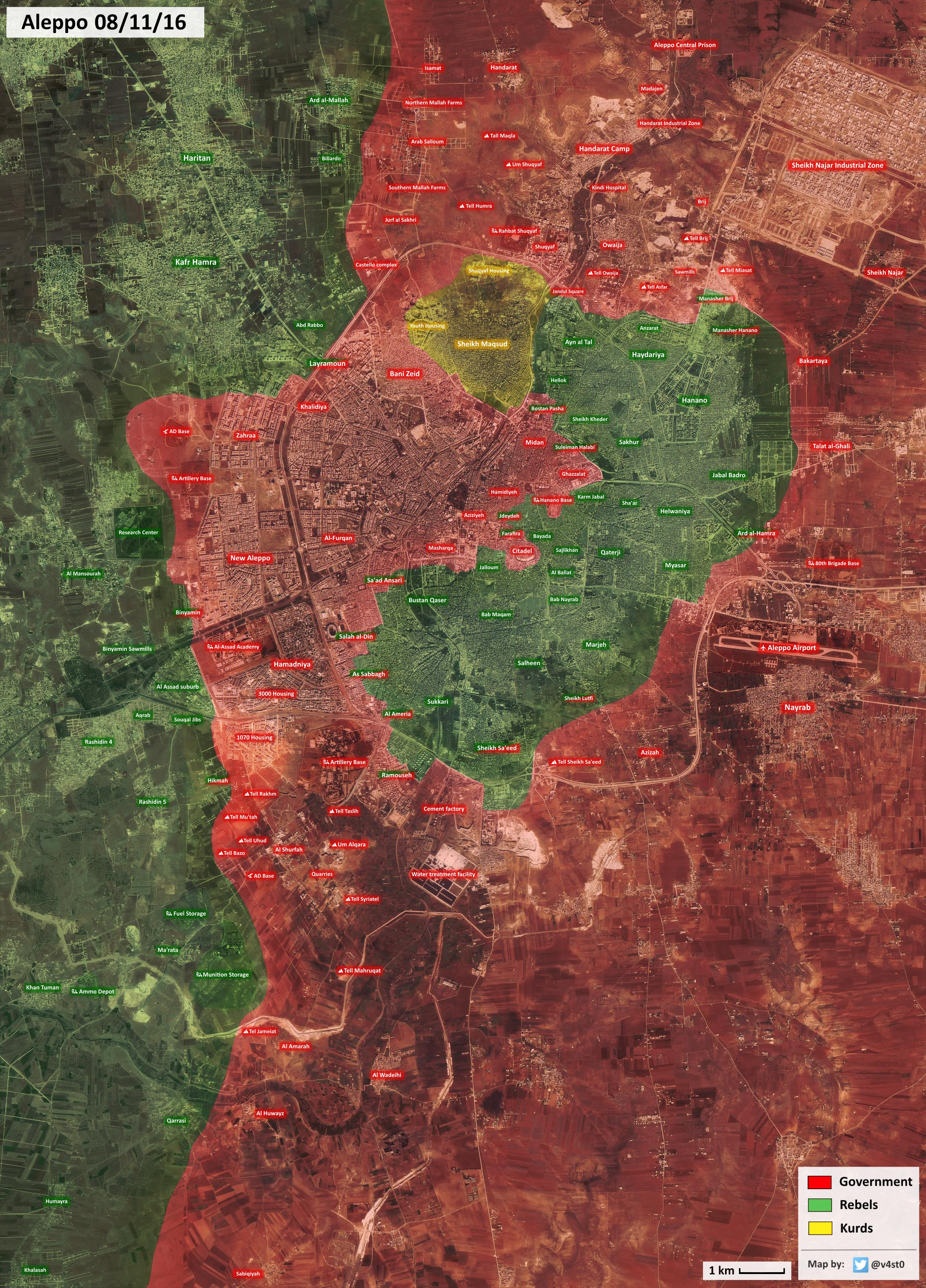 Syrian War Map Update: General Look at Military Situation in Aleppo City on November 8, 2016