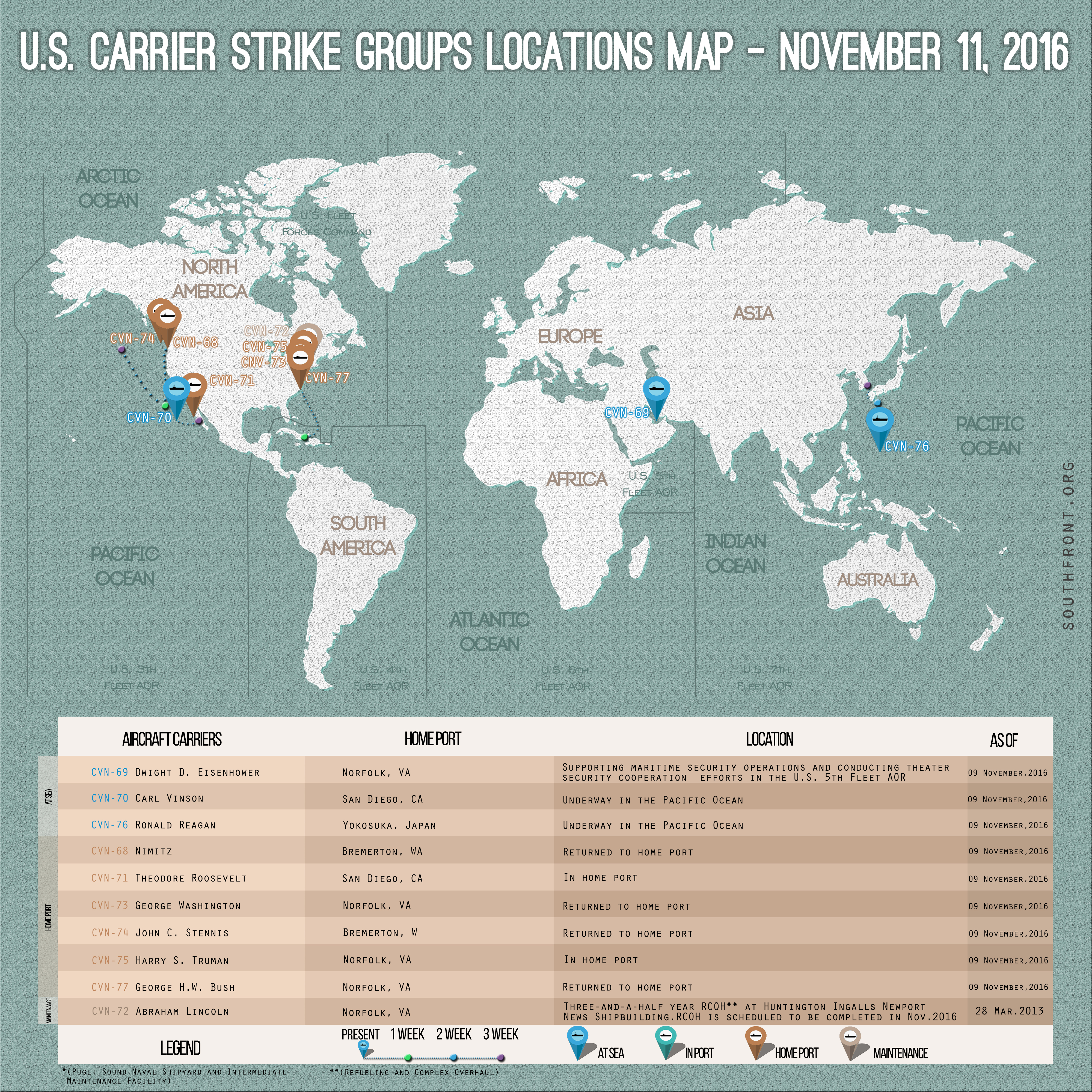 US Carrier Strike Groups Locations Map – November 11, 2016
