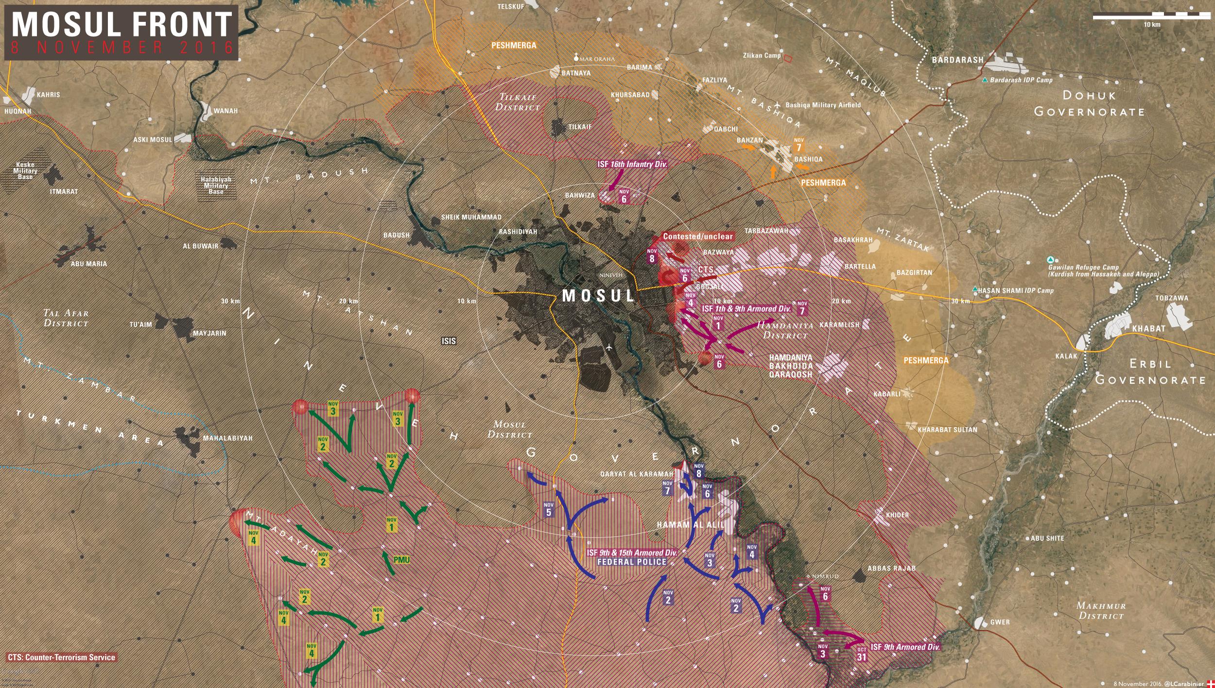 Iraqi Map Update: Battle for Mosul on November 8, 2016