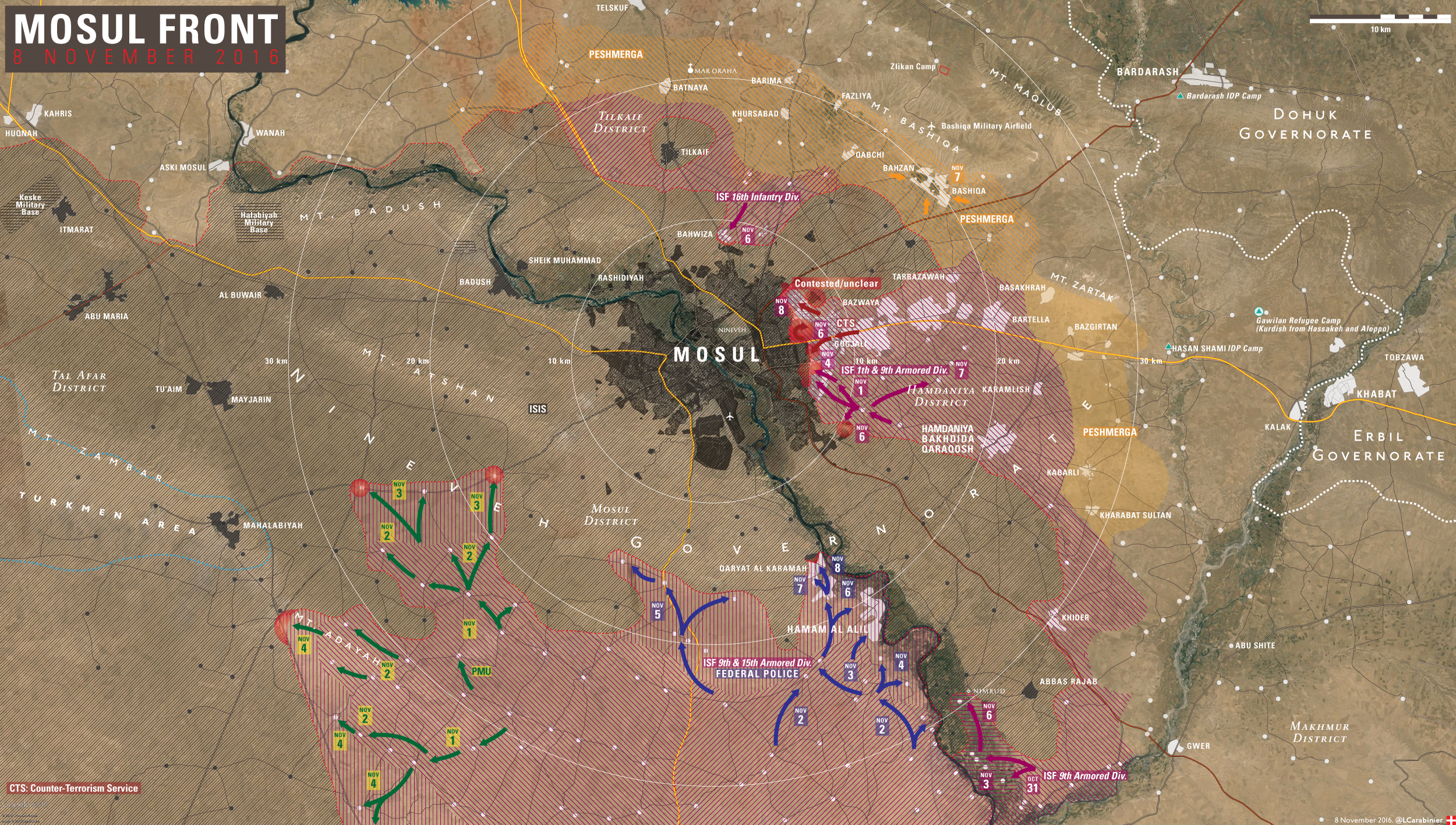 Iraqi Map Update: Battle for Mosul on November 8, 2016