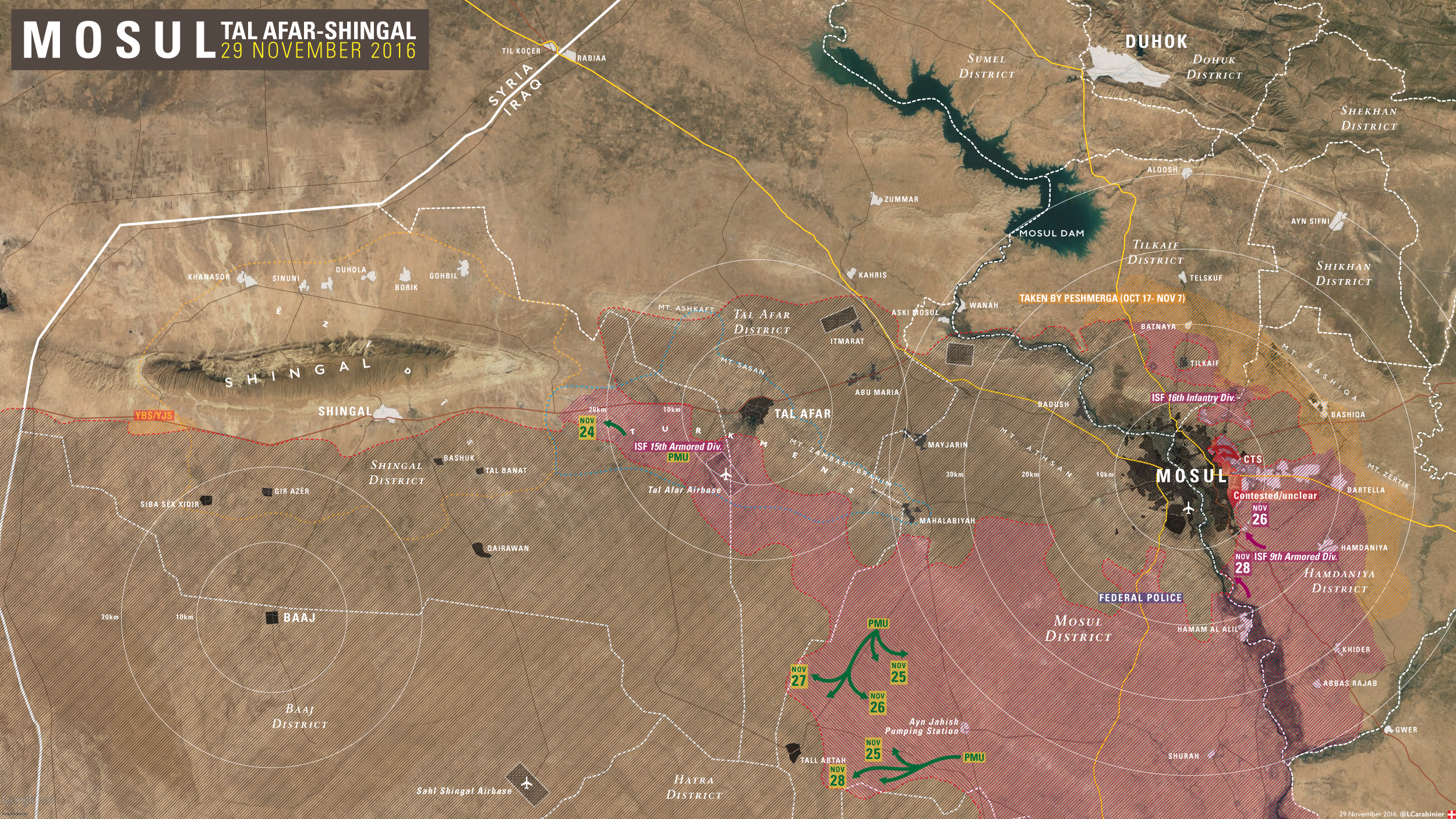 Military Situation in Mosul Countryside - The Newest Iraqi Map Update