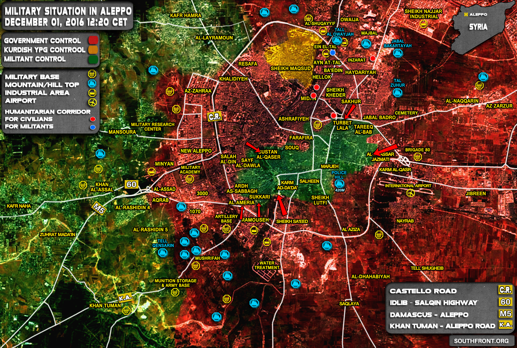 Overview of Military Situation in Aleppo City on December 1, 2016