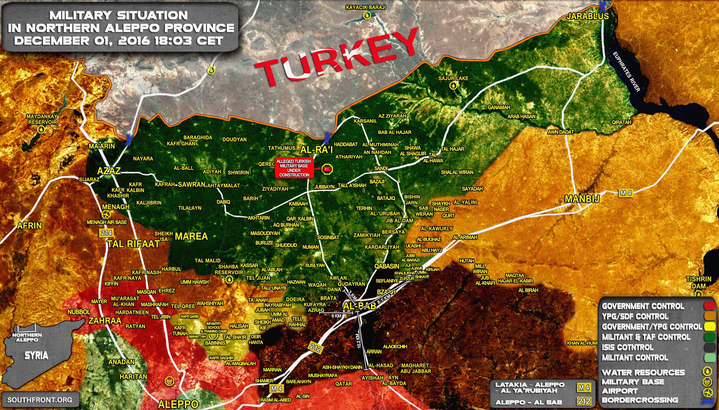 Syria Map: Military Situation in Northern Part of Aleppo Province on December 1, 2016
