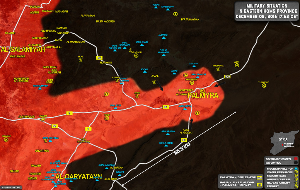 "Syria Map Update"" Military Situation In Area Of Palmyra On December 8, 2016"