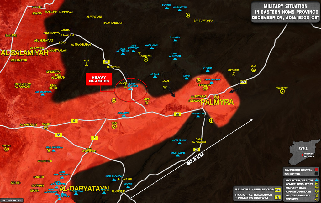 Intense Clashes Ongoing Between Syrian Army And ISIS At Entrance To Palmyra