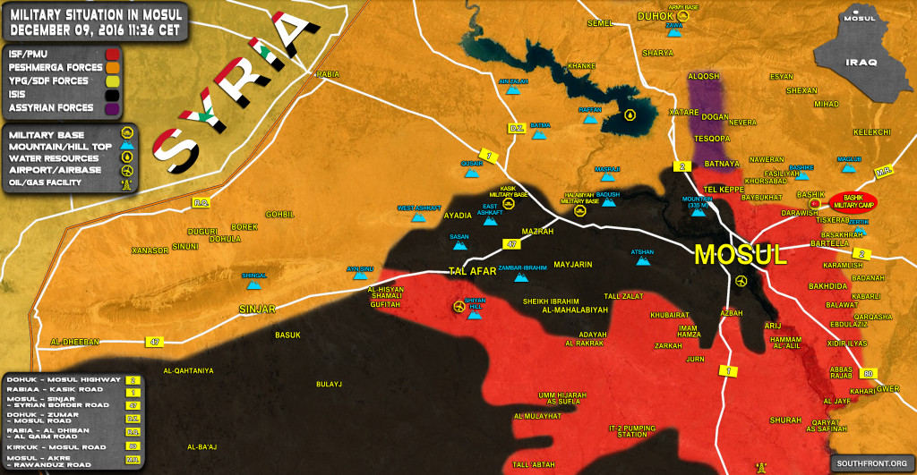 Iraq Map Update: Military Situation In The Area Of Mosul On December 9, 2016