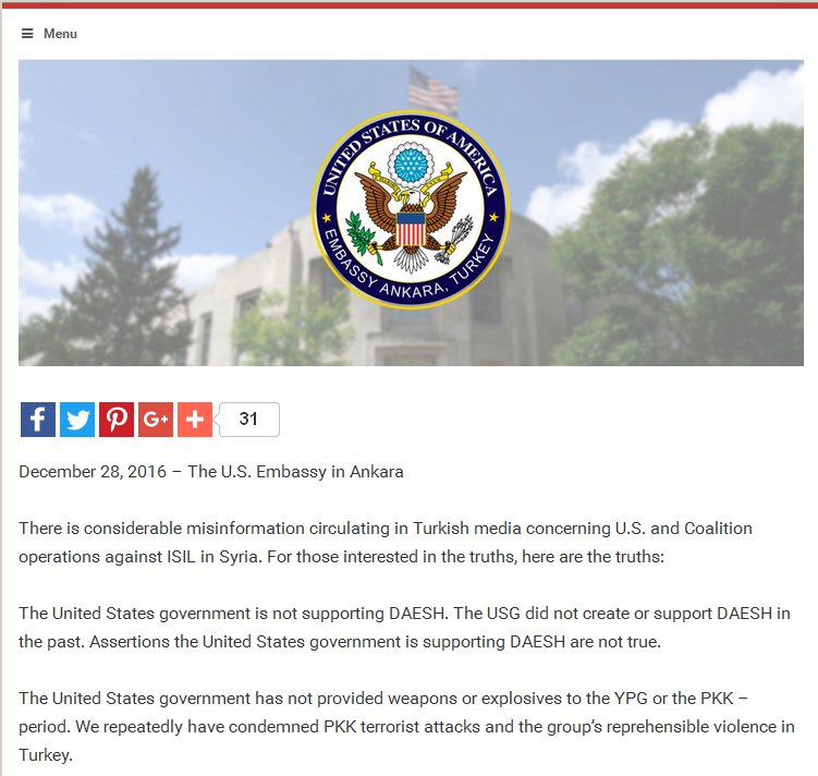 U.S. Embassy Turkey Openly Lies About U.S. YPG Support