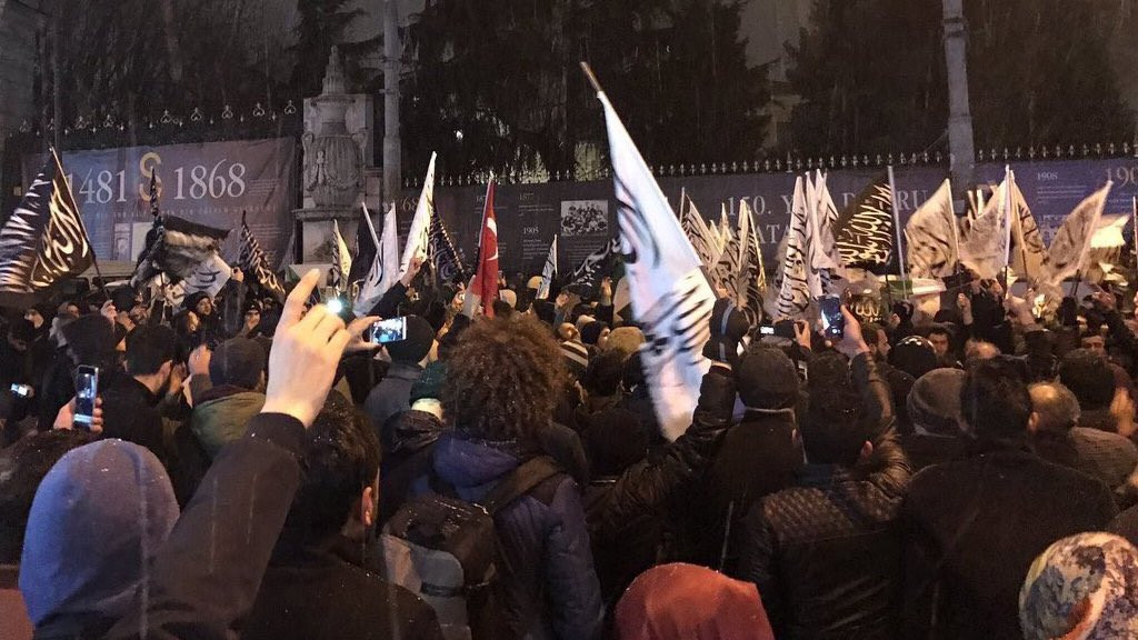 """""""Activists"""" Protesting At Russian Embassy in Turkey Hold Al-Qaeda Flags (Photos)"""