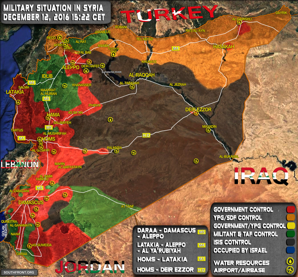 Map Update: Military Situation In Syria On December 12, 2016