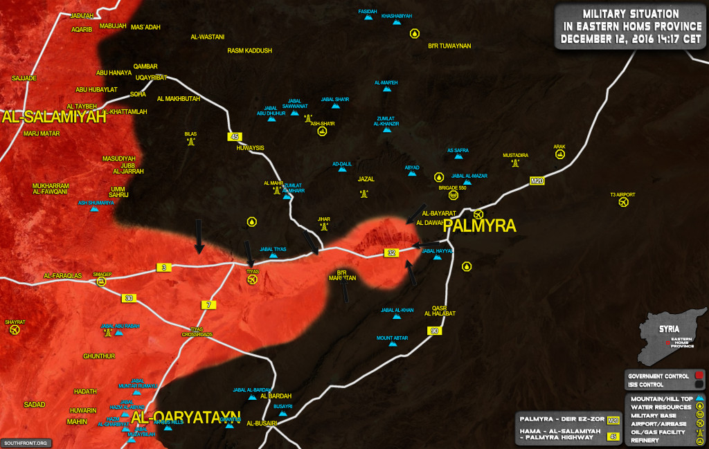 ISIS Seizes Jihar Crossroad And Tyas Mountain West of Palmyra