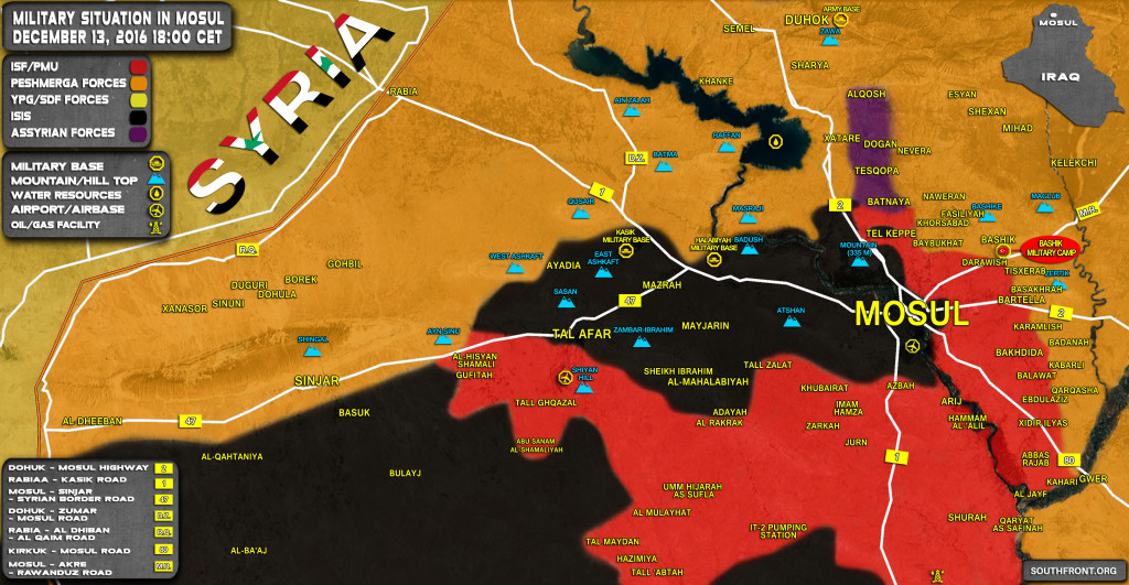 Iraq Map Update: Military Situation In Area Of Mosul On December 13, 2016