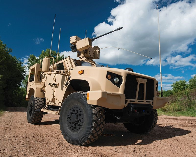 Oshkosh Defense JTLV equipped with a 30mm M230 autocannon in a remotely controlled housing. A combination of armored protection, high mobility and firepower are at the core of the vehicles design.