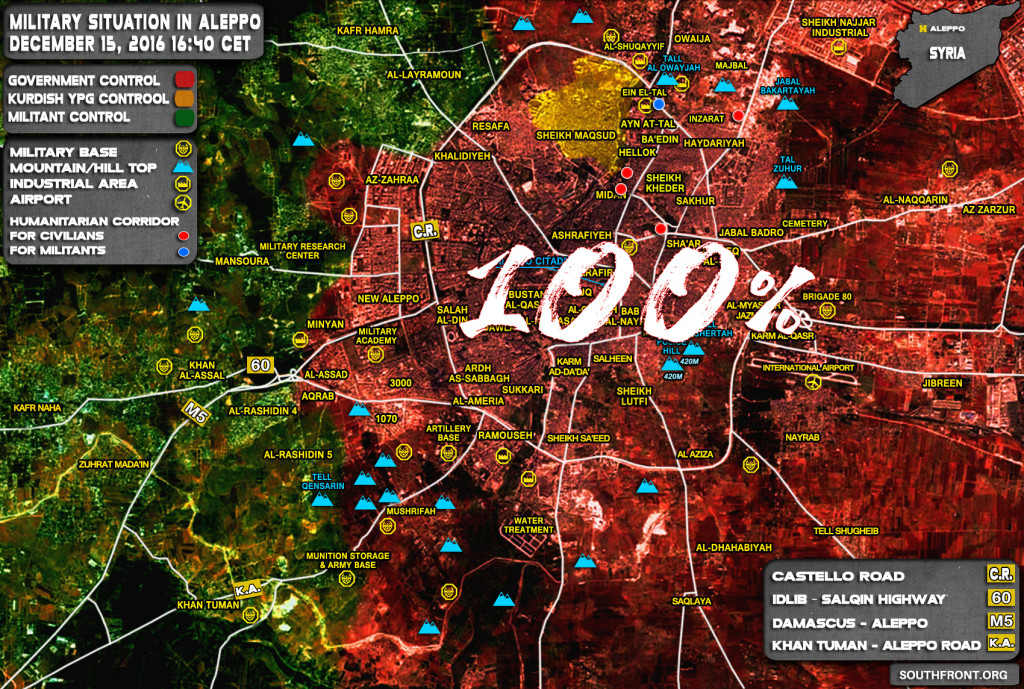 Govt Forces Control 100% Of Aleppo City - Russian General Staff