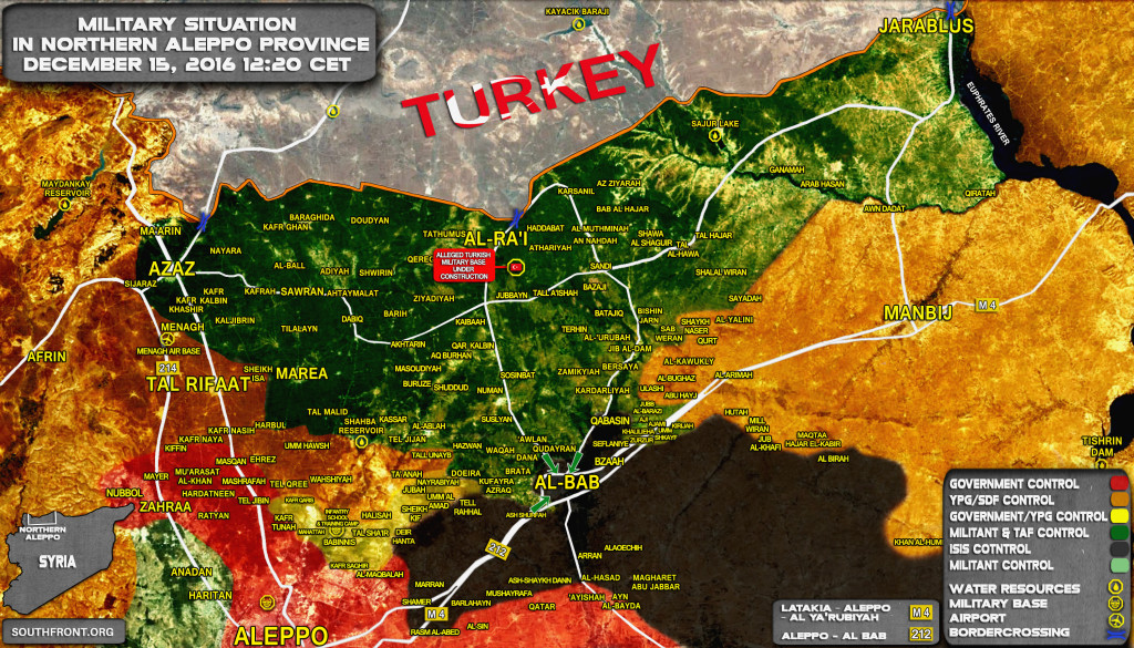Syria Map Update: Military Situation In Northern Part Of Aleppo Province On December 15, 2016