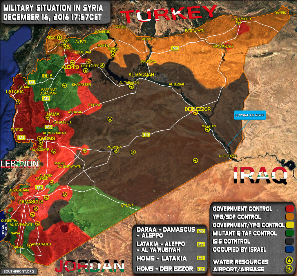 Military Situation In Syria On December 16, 2016 (Map Update)